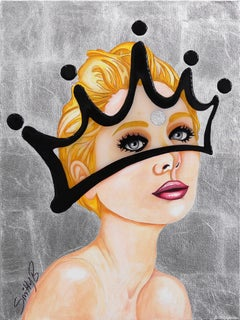 Luxe - Contemporary Silver Leaf Crown Portrait Painting