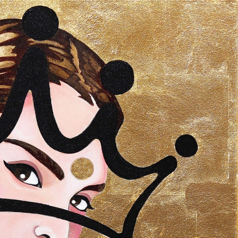 Combining contemporary portraiture with minimalist abstract graffiti-style crowns, Brian Smith's figurative mixed media works exude modern elegance. His crowns are a recognizable symbol of modern popular culture, expressing a radiance akin to