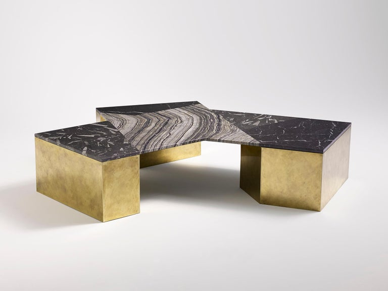 Modern Brian Thoreen Black Mixed Marble and Brass Coffee Table For Sale