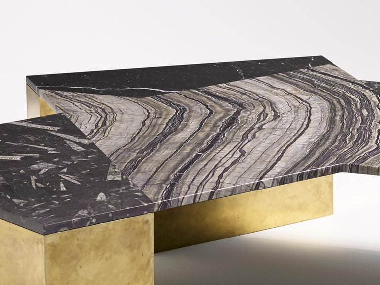 Brian Thoreen Black Mixed Marble and Brass Coffee Table In New Condition For Sale In New York, NY