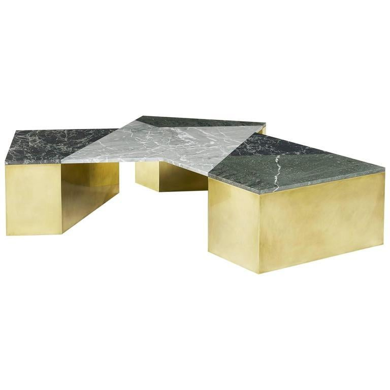 American Brian Thoreen Green Mixed Marble and Brass Coffee Table For Sale