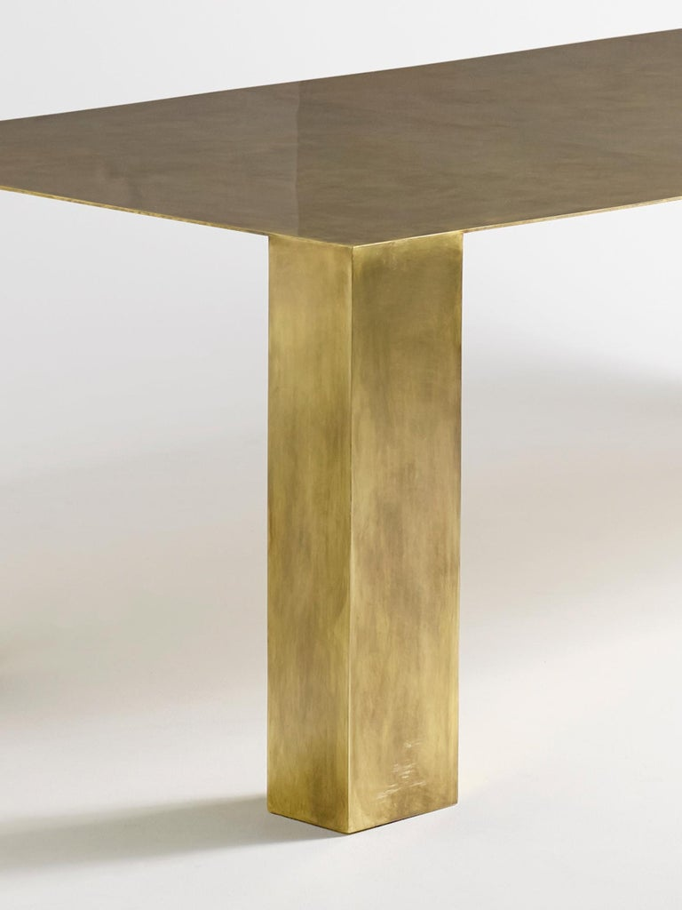 American Brian Thoreen Modernist Brass Dining Table For Sale