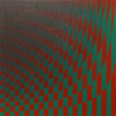 Bent Field - Red and Green Checkered Pattern- Surreal, Optical Illusion, Gridded