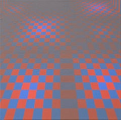 Floor - Blue, Pink, Red Color Theory Checkered Pattern, Optical Illusion
