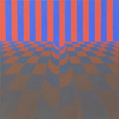 Just a Pinch - Red, Pink and Blue Optical Illusion Painting, Abstract Geometric