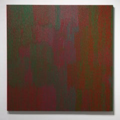 Yes and No - Color theory abstract geometric painting on canvas, Red, Green