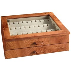 Briar Box for 24 Cufflinks with Leather Detail by Agresti