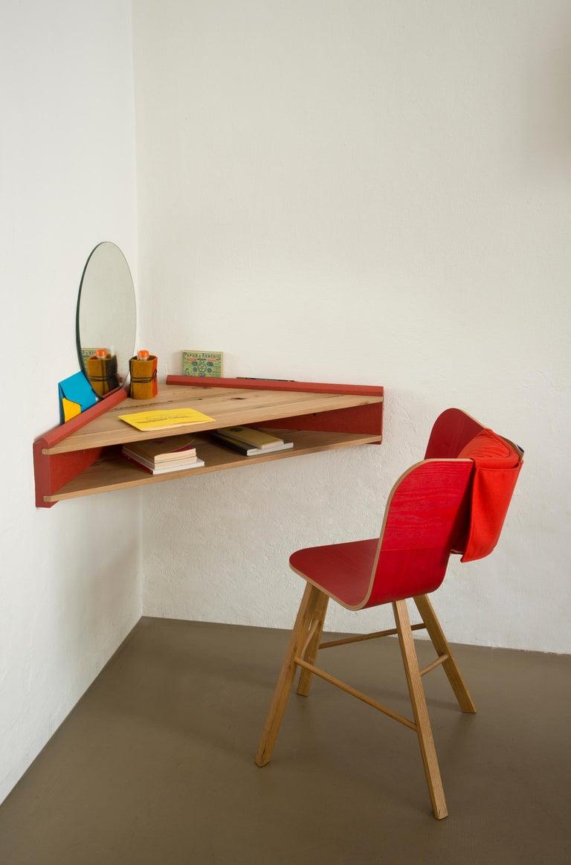 Italian Briccola-ge, Minimalist Corner Desk and Hanging Shelf in Old Bricoola Bog Wood For Sale