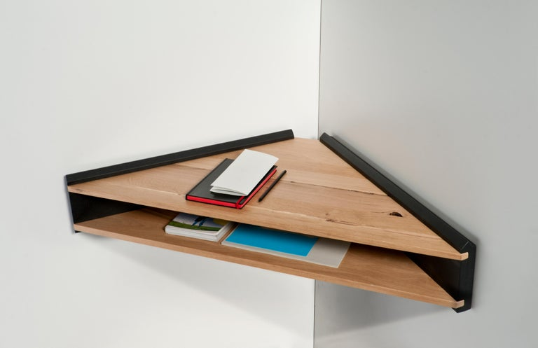 Hand-Crafted Briccola-ge, Minimalist Corner Desk and Hanging Shelf in Old Bricoola Bog Wood For Sale