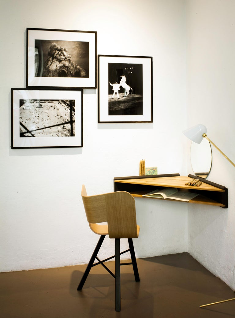 Contemporary Briccola-ge, Minimalist Corner Desk and Hanging Shelf in Old Bricoola Bog Wood For Sale