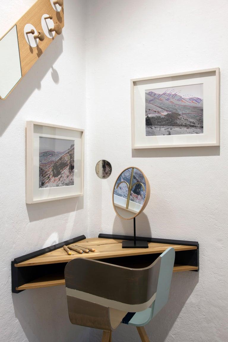 Oak Briccola-ge, Minimalist Corner Desk and Hanging Shelf in Old Bricoola Bog Wood For Sale