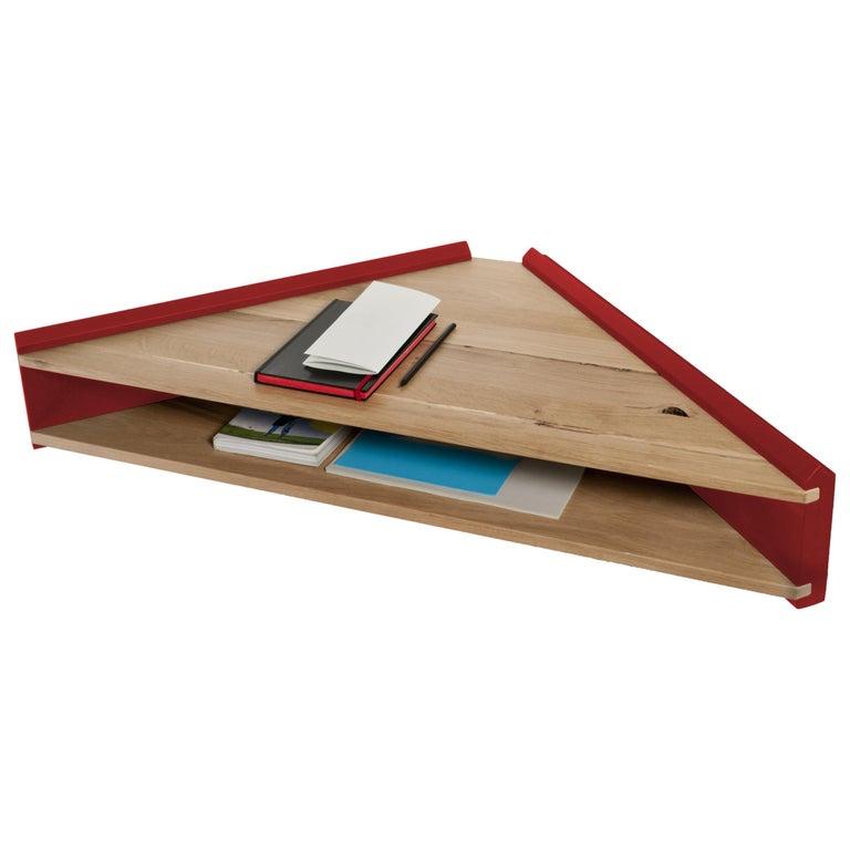 Briccola-ge, Minimalist Corner Desk and Hanging Shelf in Old Bricoola Bog Wood For Sale