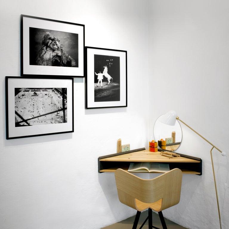 Italian Briccola-ge-Minimalist Hanging Corner Desk and Shelf in Old Bricoola Wood For Sale
