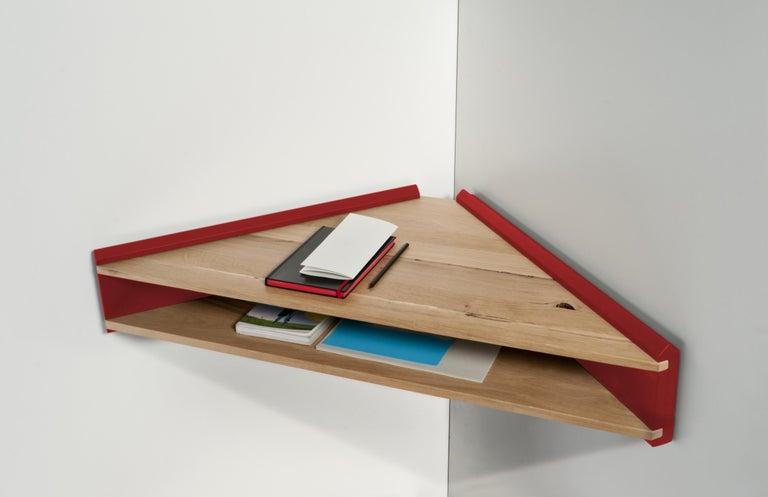 Oak Briccola-ge-Minimalist Hanging Corner Desk and Shelf in Old Bricoola Wood For Sale
