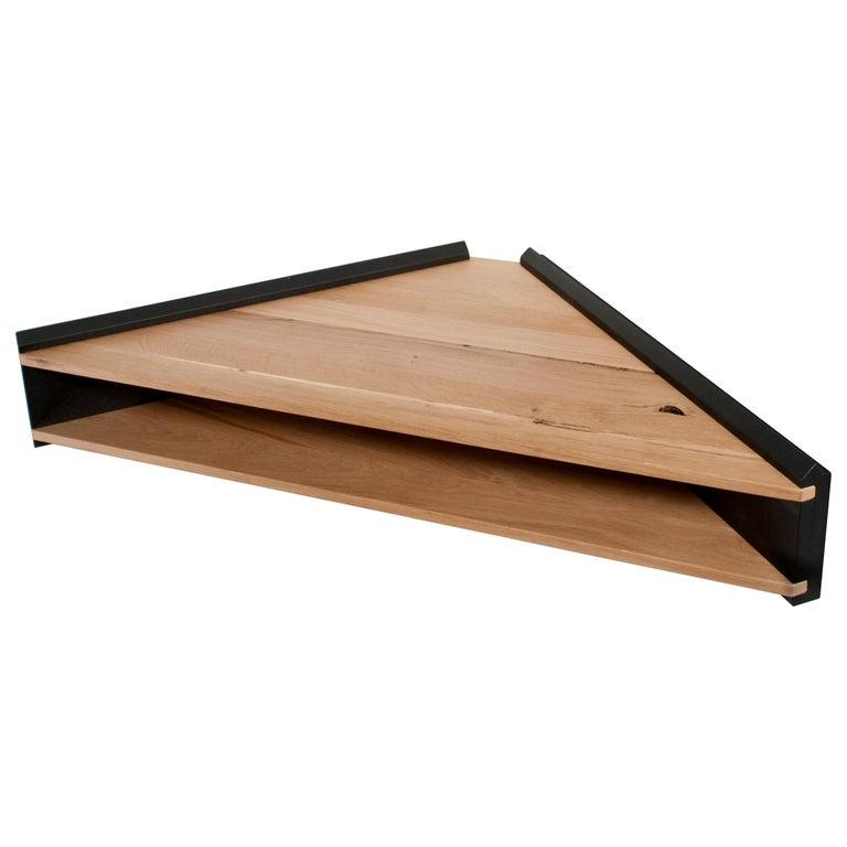 Briccola-ge-Minimalist Hanging Corner Desk and Shelf in Old Bricoola Wood For Sale