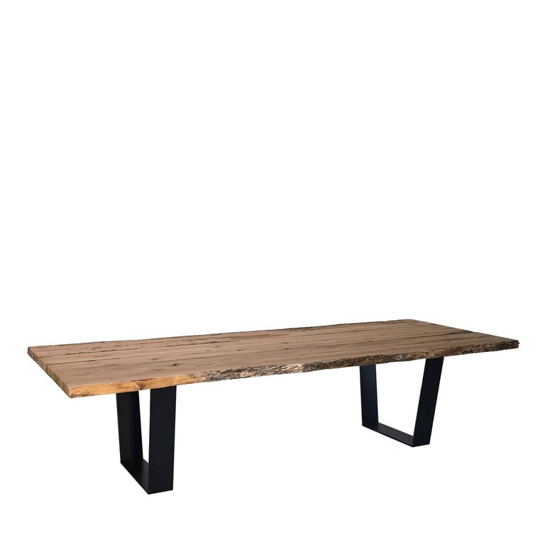Briccola Rectangular Table in Iron and Solid Oak In New Condition For Sale In Milan, IT