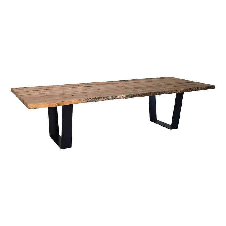 Briccola Rectangular Table in Iron and Solid Oak For Sale