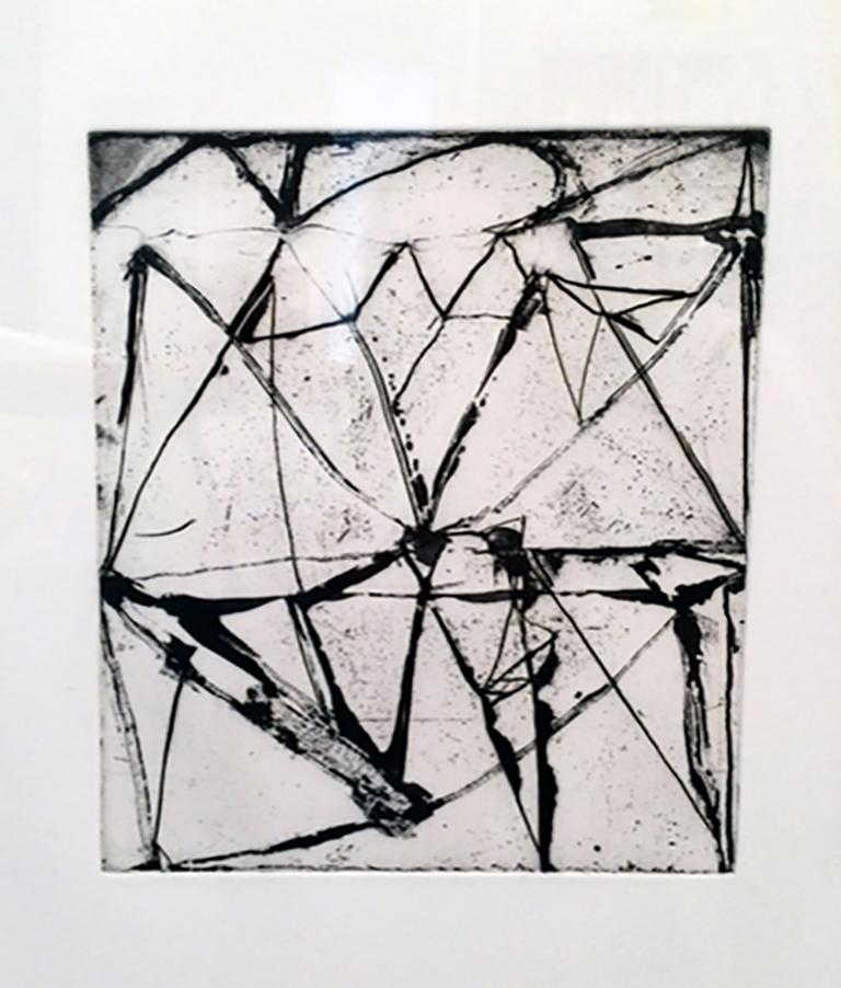 Brice Marden, Etchings to Rexroth #24, 1986, etching and sugarlift aquatint - Gray Abstract Print by Brice Marden