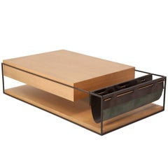 Brick Brazilian Contemporary Wood Centre Table and Magazine Holder by Lattoog