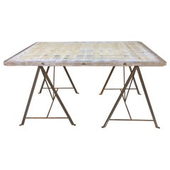 Brick Maker's Table with Metal Base, circa 1920s