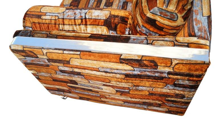 American Brick Mid-Century Modern Chrome Fabric Jack Lenor Larsen Milo Baughman Type Sofa For Sale