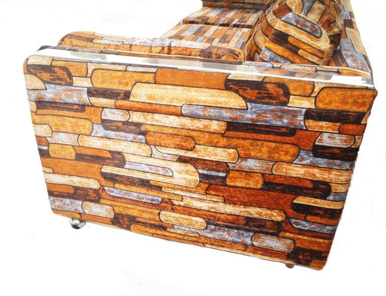 Other Brick Mid-Century Modern Chrome Fabric Jack Lenor Larsen Milo Baughman Type Sofa For Sale