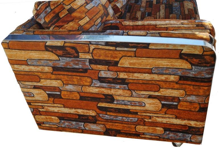 Late 20th Century Brick Mid-Century Modern Chrome Fabric Jack Lenor Larsen Milo Baughman Type Sofa For Sale