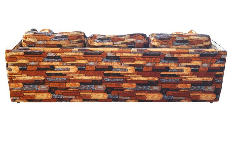 Brick Mid-Century Modern Chrome Fabric Jack Lenor Larsen Milo Baughman Type Sofa For Sale 1