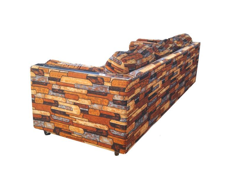 Brick Mid-Century Modern Chrome Fabric Jack Lenor Larsen Milo Baughman Type Sofa For Sale 2