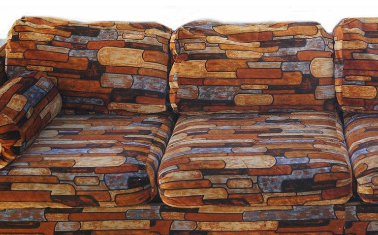 Brick Mid-Century Modern Chrome Fabric Jack Lenor Larsen Milo Baughman Type Sofa For Sale 3