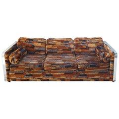Brick Mid-Century Modern Chrome Fabric Jack Lenor Larsen Milo Baughman Type Sofa