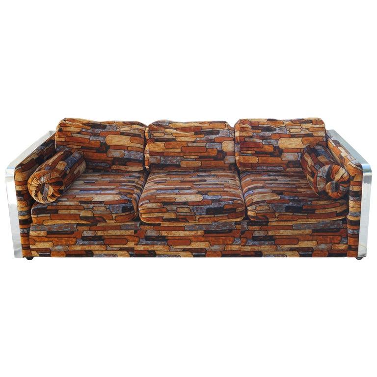 Brick Mid-Century Modern Chrome Fabric Jack Lenor Larsen Milo Baughman Type Sofa For Sale