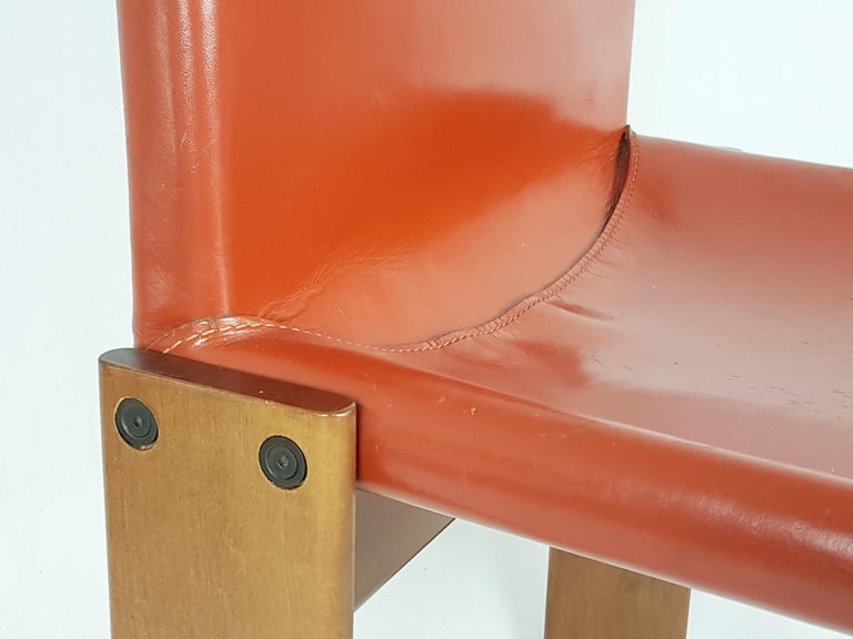 Brick Red leather and Walnut 1974 Monk Chair by Afra e Tobia Scarpa for Molteni For Sale 4