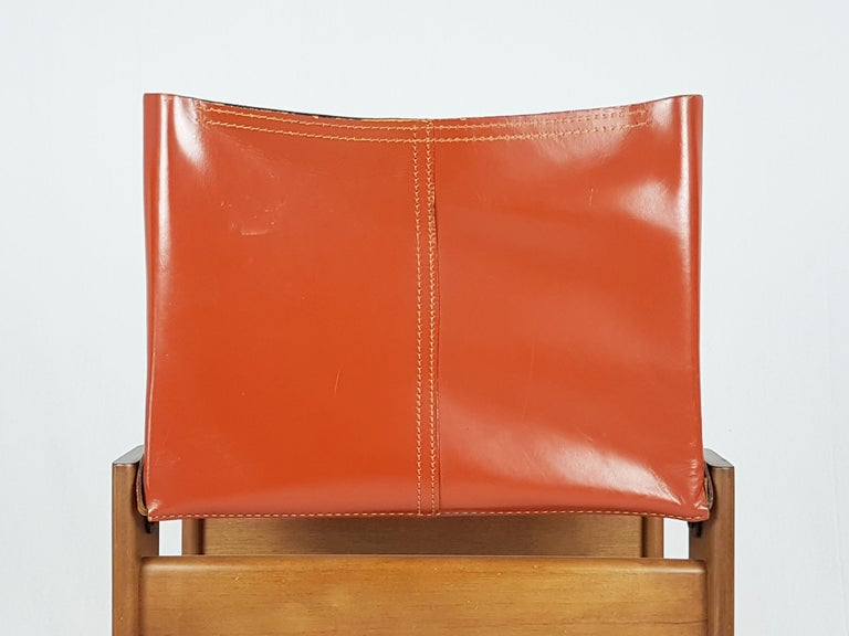 Space Age Brick Red leather and Walnut 1974 Monk Chair by Afra e Tobia Scarpa for Molteni For Sale