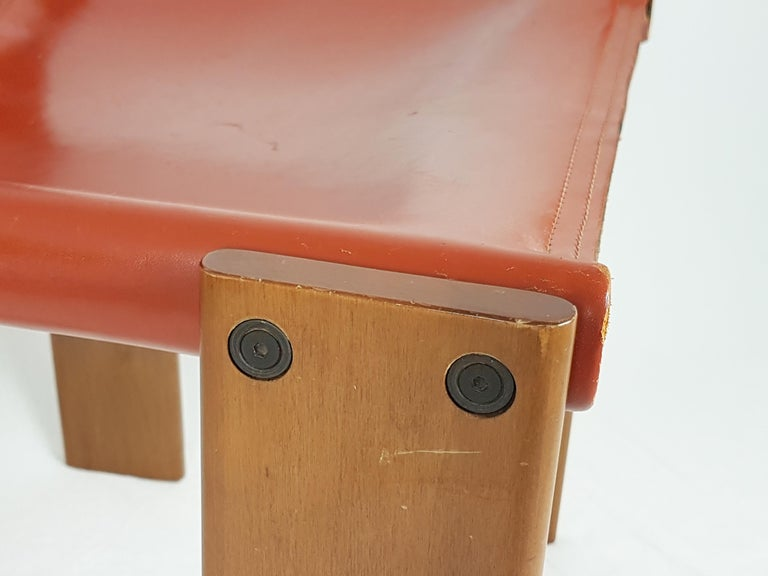 Italian Brick Red leather and Walnut 1974 Monk Chair by Afra e Tobia Scarpa for Molteni For Sale