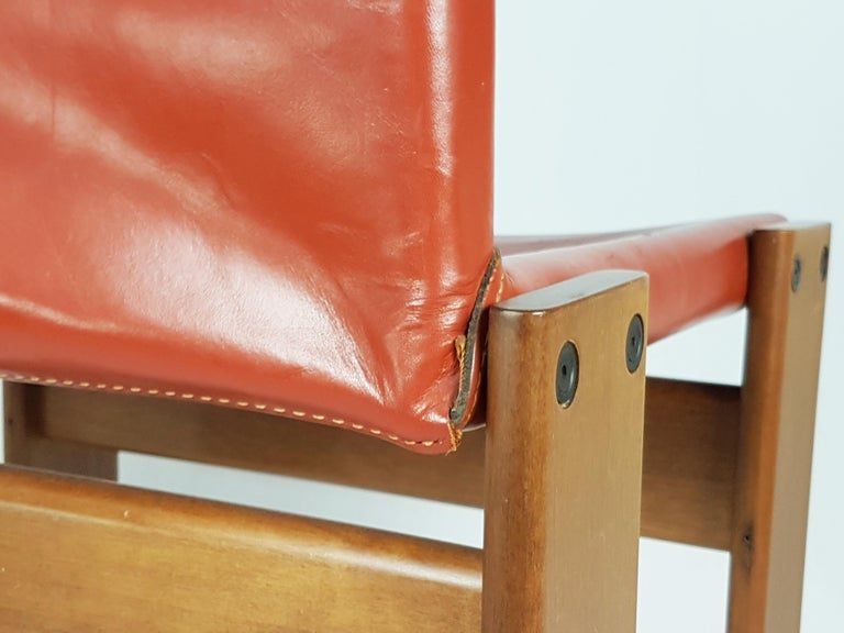 Leather Brick Red leather and Walnut 1974 Monk Chair by Afra e Tobia Scarpa for Molteni For Sale