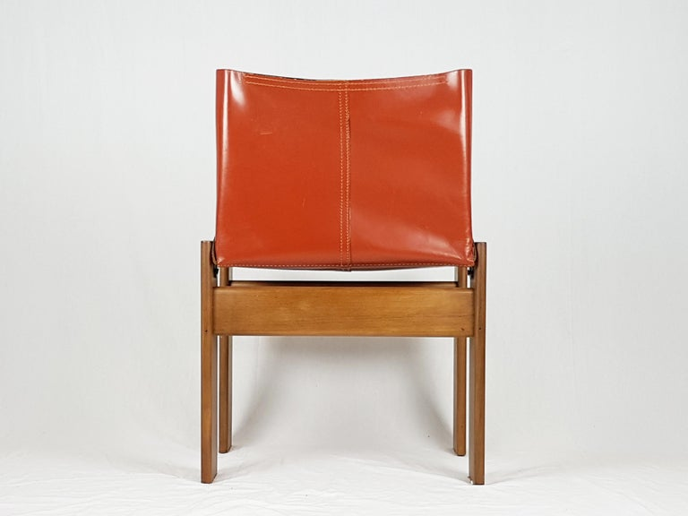 Brick Red leather and Walnut 1974 Monk Chair by Afra e Tobia Scarpa for Molteni For Sale 1