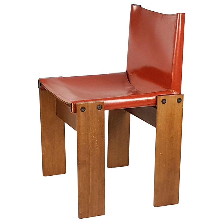 Brick Red leather and Walnut 1974 Monk Chair by Afra e Tobia Scarpa for Molteni For Sale