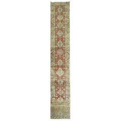 Brick Rustic Antique Persian Heriz Narrow Runner