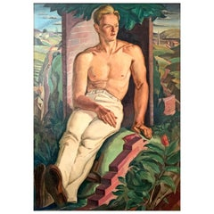 """Bricklayer at Rest,"" Monumental WPA Period Painting of Worker with Landscape"