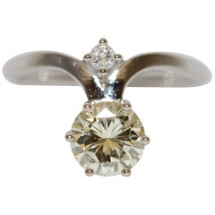 Bridal, Engagement Ring, 1.22 Carat IF Natural Diamond, Solitaire, White Gold