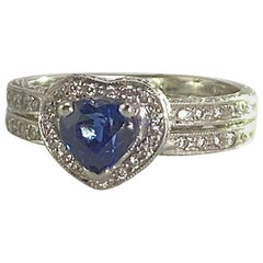 Bridal Heart shaped Sapphire 1.25 Carat and 1.45 Diamonds TW 18K WG 5.2 grams