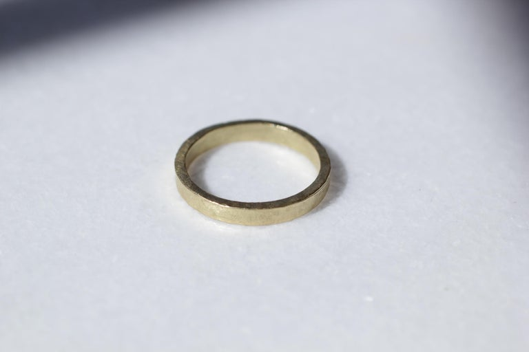Bridal or Wedding Band Ring in 18K gold. Simplicity Wide Disk contemporary unisex wedding or bridal band ring designed and handcrafted by AB Jewelry NYC. Ideal for a man or a woman. Wear it alone or as a fashionable stacking ring combining it with