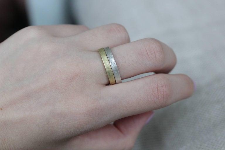 Bridal Wedding 18 Karat Gold Band Ring Stacking Contemporary Unisex Man  For Sale 3