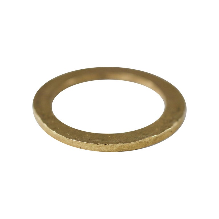 Bridal Wedding Band Ring 18K Gold Modern for Man or Woman Stacking Design For Sale