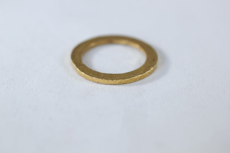 Bridal Wedding Unisex Band 18K Gold Ring, Modern Men's Women's Stacking Design For Sale