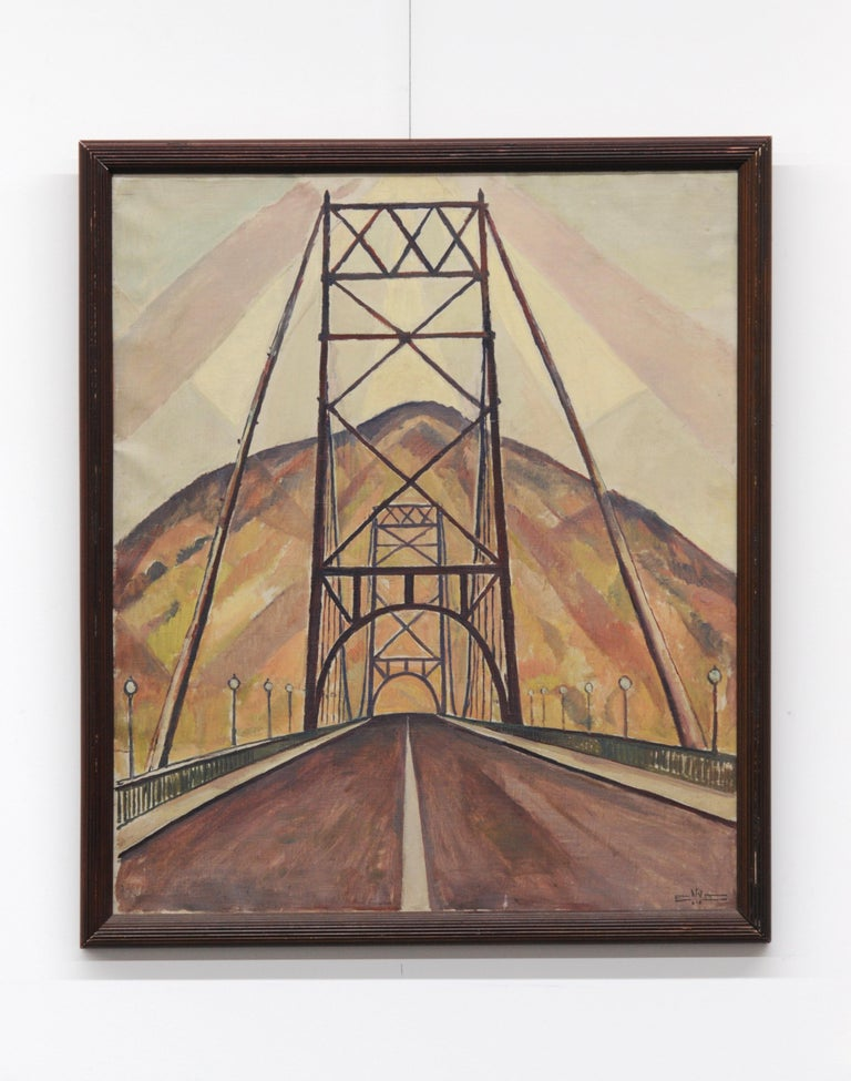 Bridge and Mountain Landscape Painting by Edgar Hewitt Nye For Sale 4