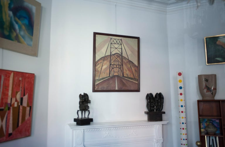 Bridge and Mountain Landscape Painting by Edgar Hewitt Nye In Good Condition For Sale In Washington, DC
