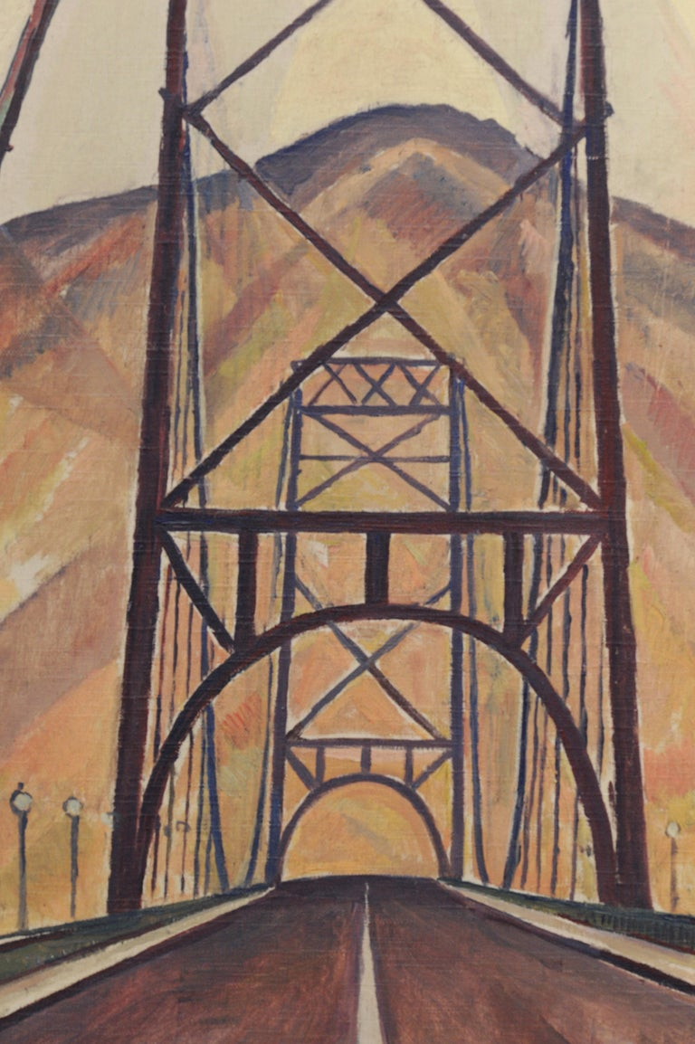 Bridge and Mountain Landscape Painting by Edgar Hewitt Nye For Sale 1