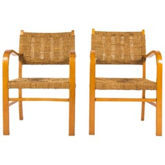 Bridge Armchairs in Beech and Ropes 1950 Set of 2 France, Brown Color
